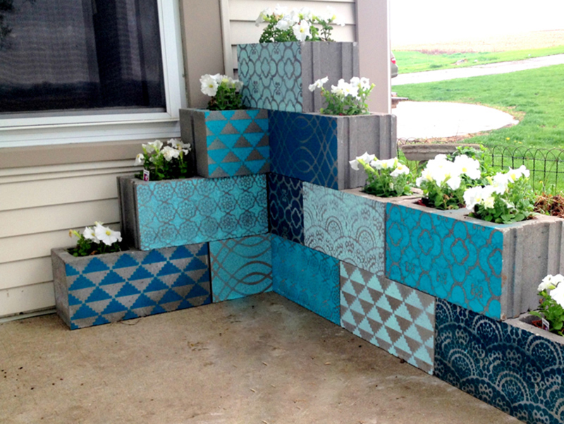 Stenciled Cinder Blocks