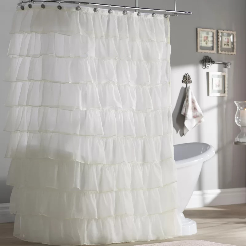 Ankeny Voile Ruffled Tier Shower Curtain