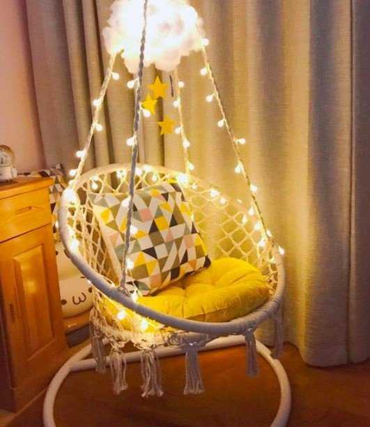 Hanging Macrame Chair With Led