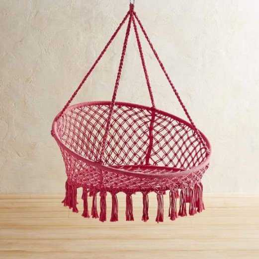 Pink Macrame Saucer Swing Chair