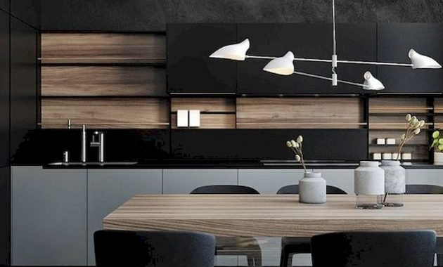 A Minimalist Kitchen In Black Grey And With Light Colored Wood Is Very Stylish And Bold