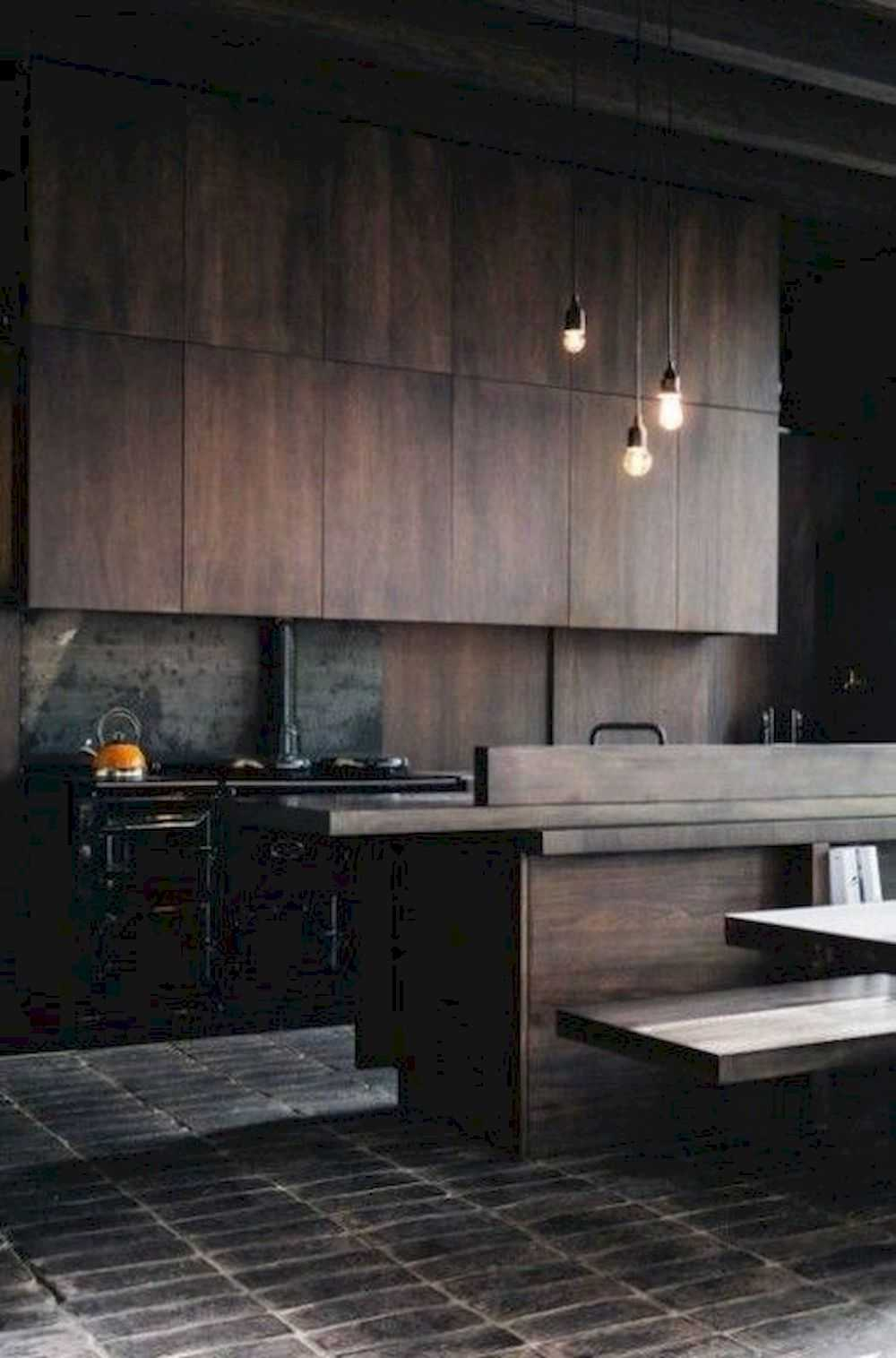 A Moody And Rough Grey Kitchen Of Wood With Metal Countertops A Hearth And Wooden Walls For A Rustic Feel