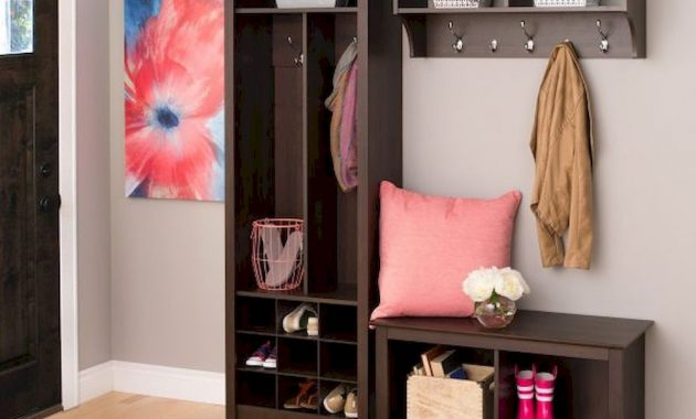3 Piece Big Entryway Bench And Shelf Set Dark Brown With Shelves And Storage