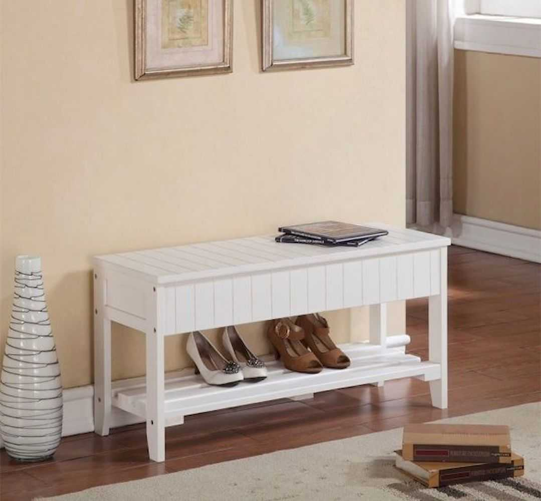 Small Wooden Entryway Bench Brown Finish With Shelf For Shoes