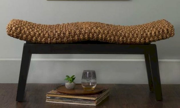 Curved And Wavy Woven Entryway Bench With Thick Black Legs Natural Organic