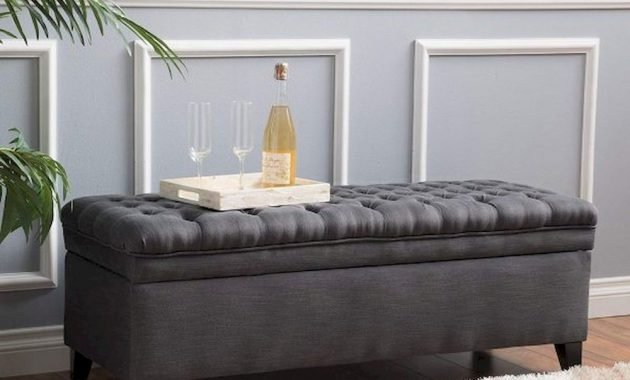 Grey Tufted Entryway Bench With Storage Long And Large Dark Charcoal