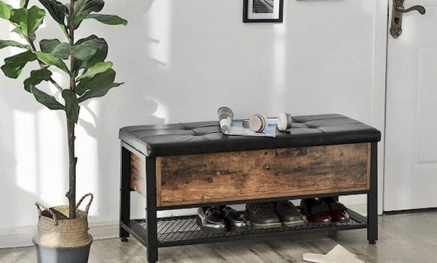 Industrial Style Entryway Bench With Rustic Wood Mesh Metal Sheld And Black Cushion Faux Leather