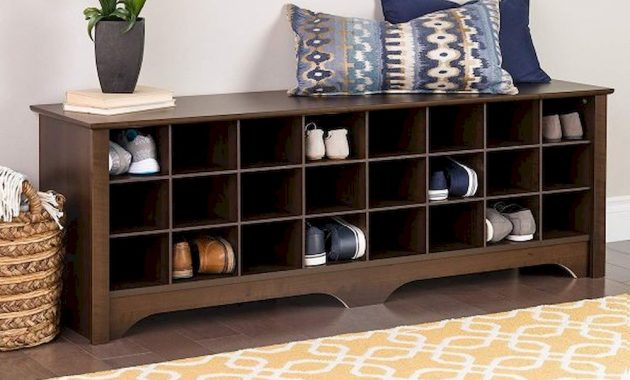 Long Entryway Bench With Cubbies For Shoe Storage 24 Pairs Dark Brown