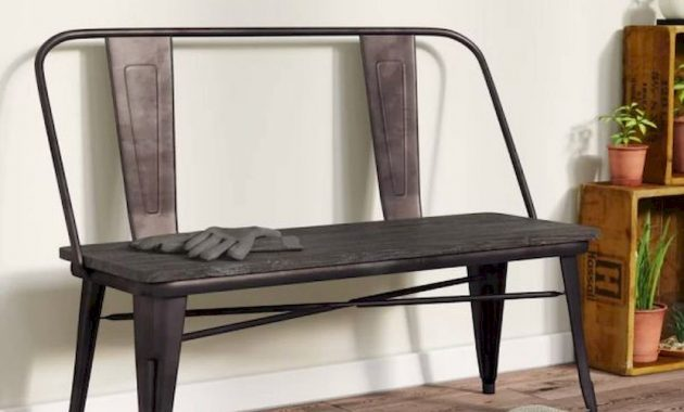 Metal Industrial Style Entryway Bench With Wood Seat A Tolis Style