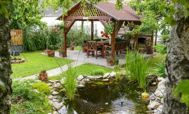 Peaceful Garden With A Little Pond And A Backyard Pavilion