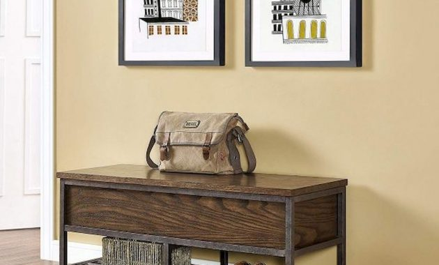Rustic Industrial Entryway Bench Wood And Metal Espresso Finish