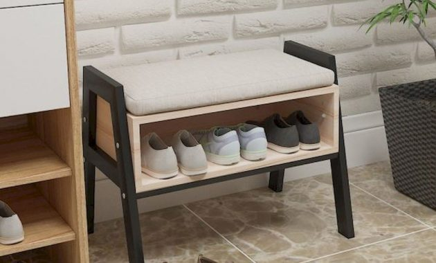 Small Entryway Bench Metal And Wood With Show Storage Compact Apartment Ideas