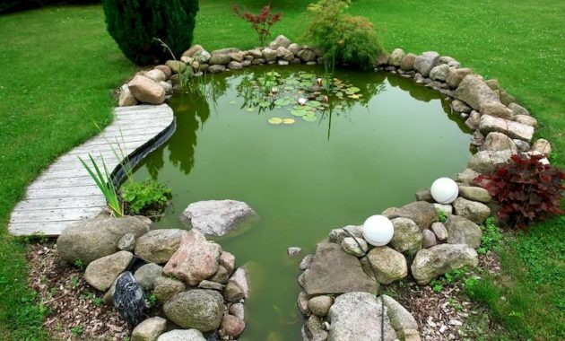 Small Backyard Pond Surrounded By Uneven Rocks