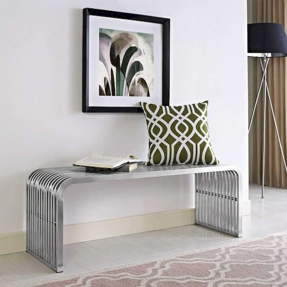 Stainless Steel Chrome Entryway Bench Slatted Metal Pipe Design Modern