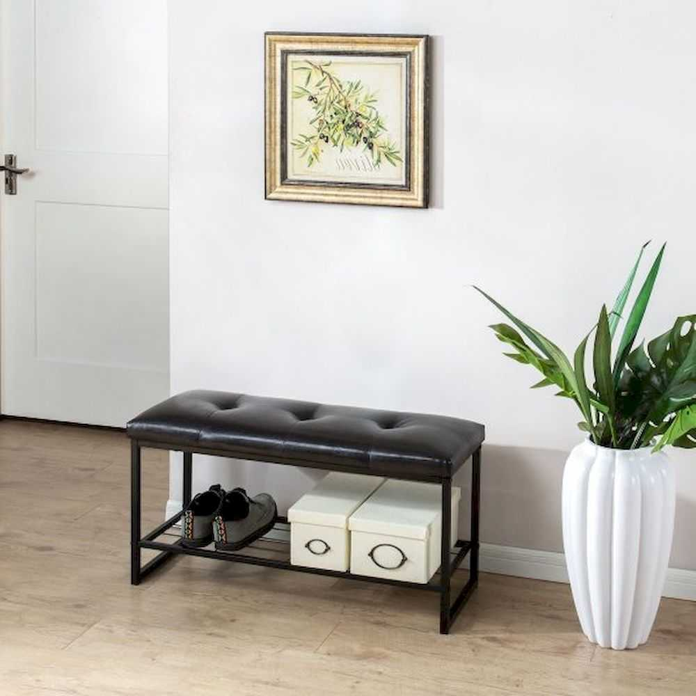 Tufted 36 Inch Entryway Bench With Storage Shelf Black Metal Frame And Faux Leather Cushion