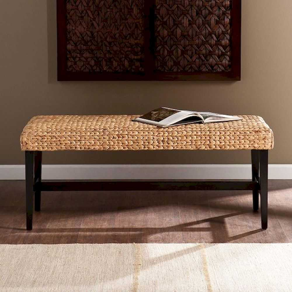 Woven Entryway Bench Hyancinth Weave Seagrass Seat With Black Legs