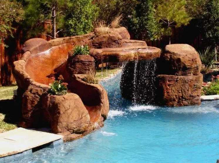 Water Slide And Waterfall In One