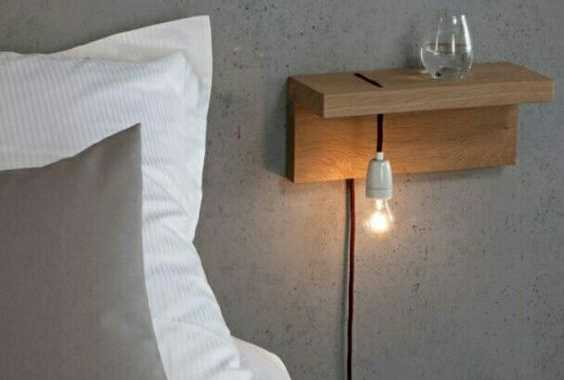 Attach A Piece Of Wood To The Wall And Add A Bulb And Voila An Industrial Nightstand Is Ready