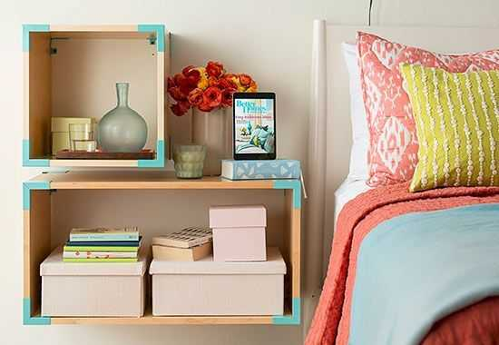 Wooden Boxes Turned Into Cool Nightstands And Decorated With Turquoise Washi Tape