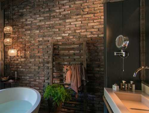 Bathroom With Brick Walls And Ceilings Ideas