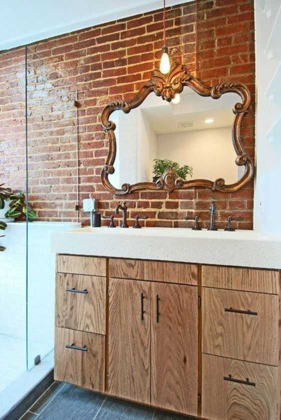 A Creative Bathroom With Red Brick Walls Wooden Beams And An Antique Bathtub And Looks Unique ( )