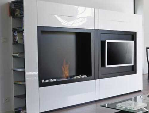 Tv Stand With Fireplace – Fontana By Mobilier Defrance