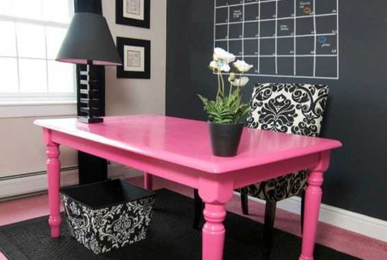 Bold Pink Desk In A Black Home Office