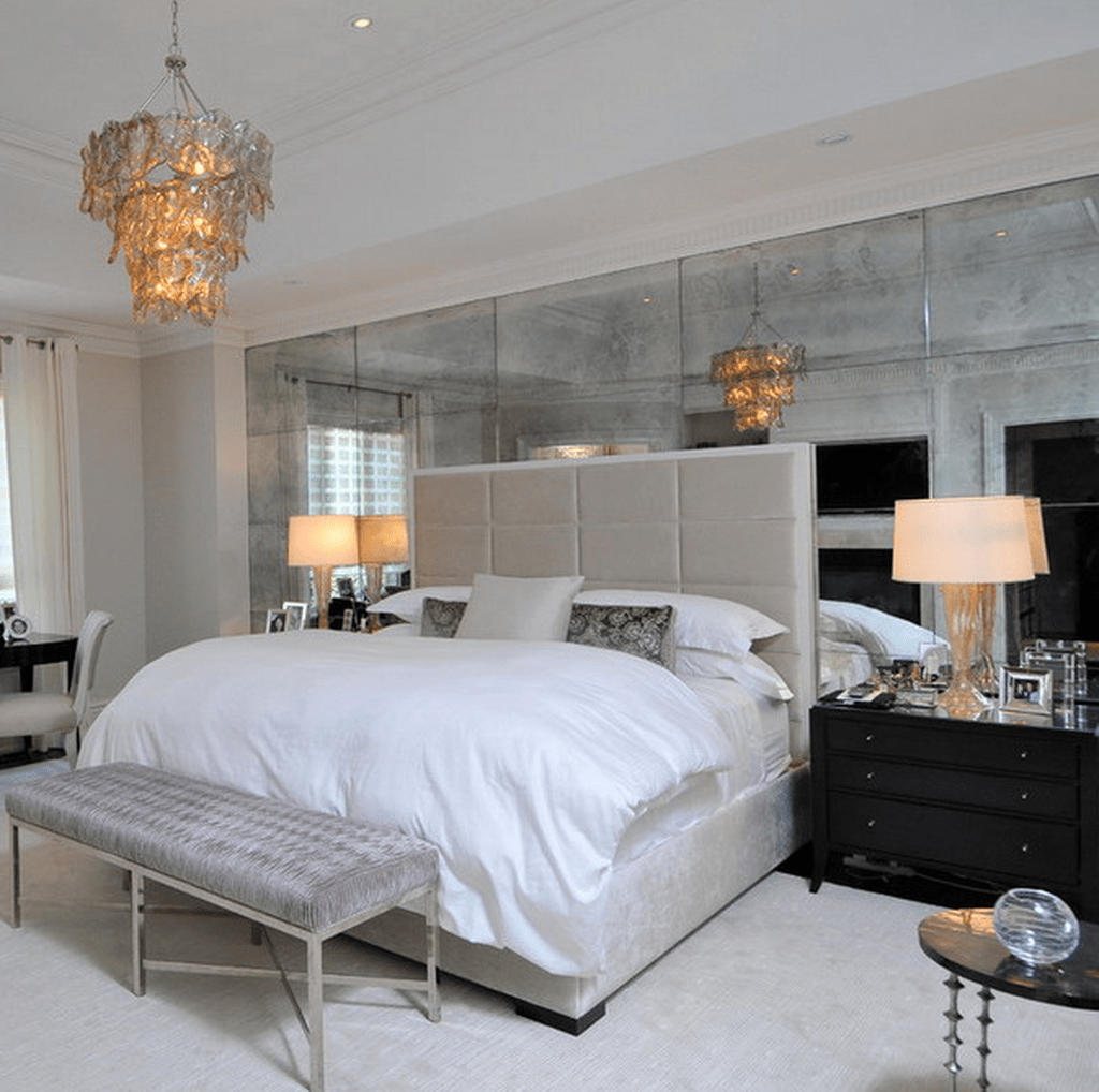 Mirror Clad Headboard Wall