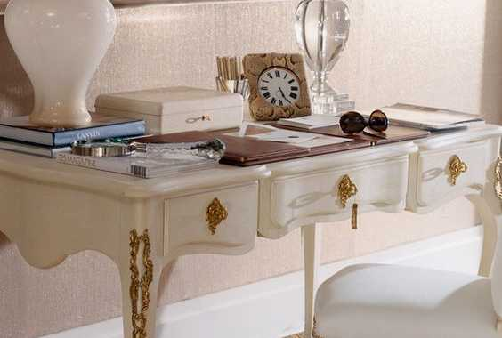 Refined White Desk With Gold Details And A Matching Chair