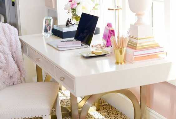 White Desk On Gold Sculptural Legs