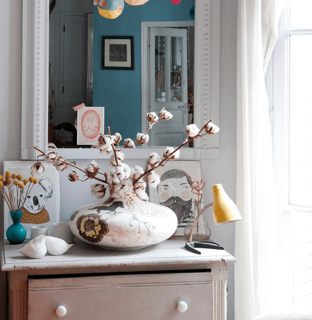 Whitewashed Shabby Mirror Over The Dresser