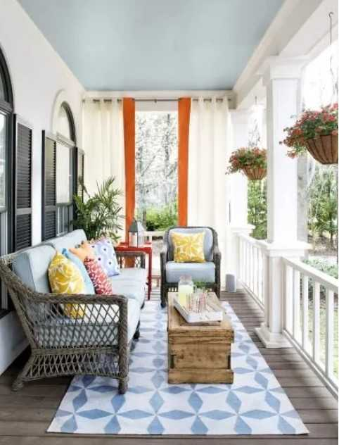 Front Porch Design With A Curtain