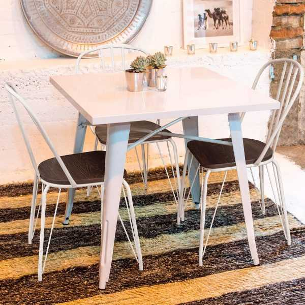 Stackable White Bistro Style Kitchen Chairs
