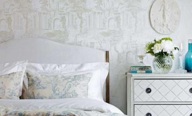 French Country Bedroom With Antique French Bed With A Floral Needlepoint Headboard