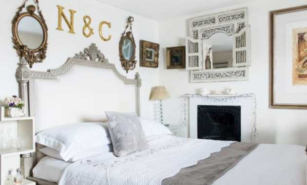 French Country Bedroom With Antique Mirrors And Bed Frame To Shine Through In This Calming Scheme Set