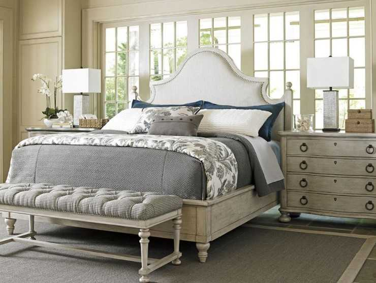 French Country Bedroom With Nail Head Trim Around The Perimeter
