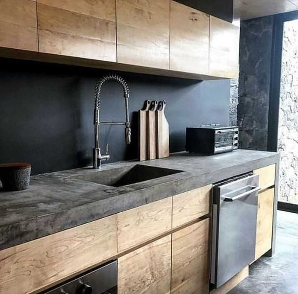 Moody Kitchen With Sleek Wooden Cabinets