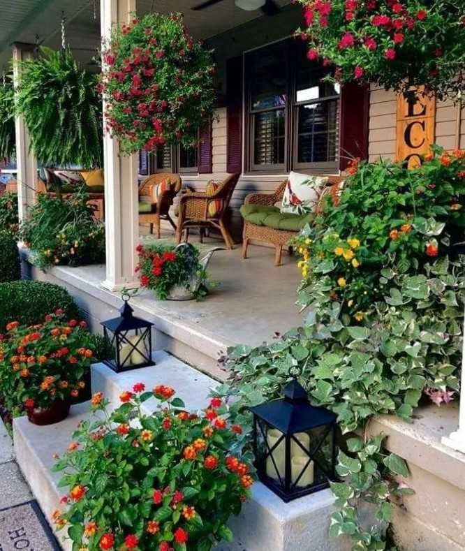 Porch Filled With Flowers