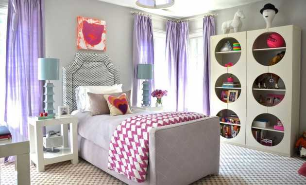 Teenage Girl Bedroom Purple Curtains And Turquoise Lamps
