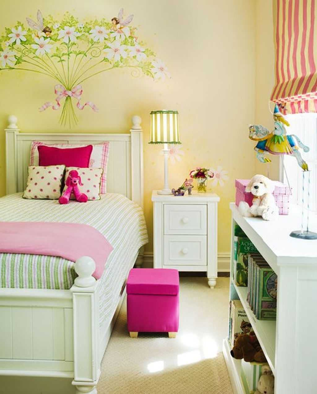 Yellow With Pink Accents Cute Bedroom