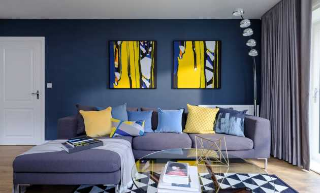 Dark Blue Living Room Accent Wall Photovisions
